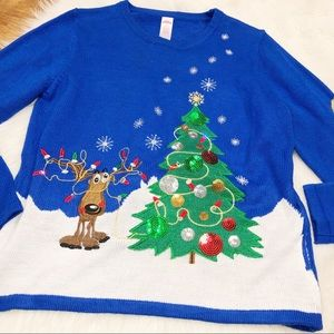 Holiday Time XL (16-18) Reindeer Christmas sweater